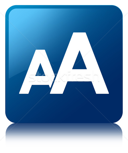 Stock photo: Font size glossy blue reflected square button