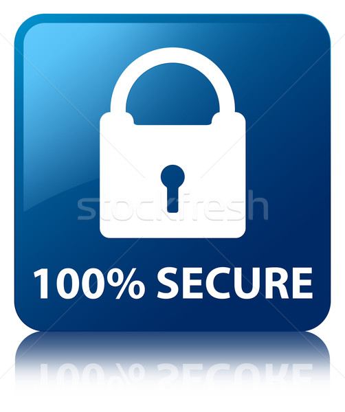 100% Secure (padlock icon) glossy blue reflected square button Stock photo © faysalfarhan