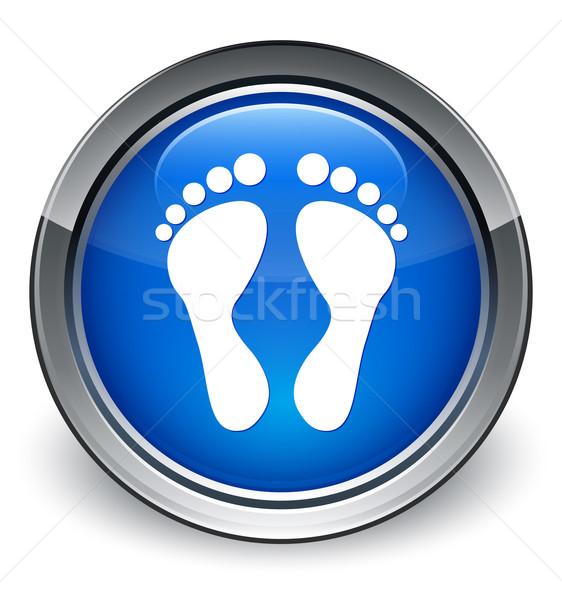 Lábnyom ikon fényes kék gomb háló Stock fotó © faysalfarhan