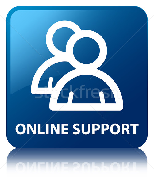 Online support (group icon) glossy blue reflected square button Stock photo © faysalfarhan