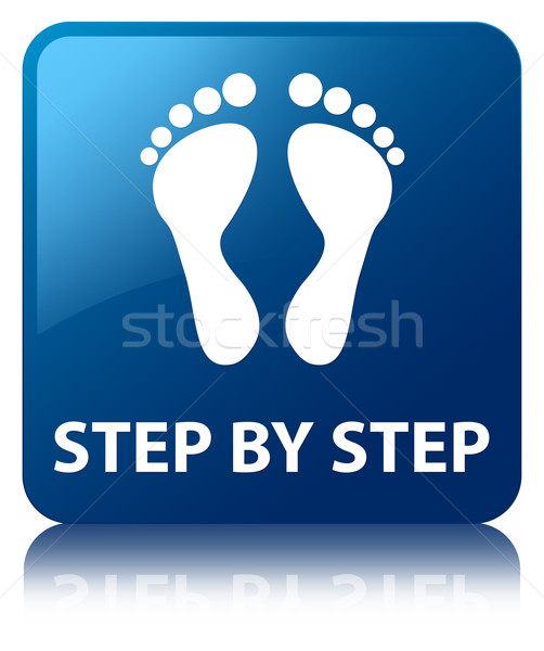 Step by step (foot icon) glossy blue reflected square button Stock photo © faysalfarhan