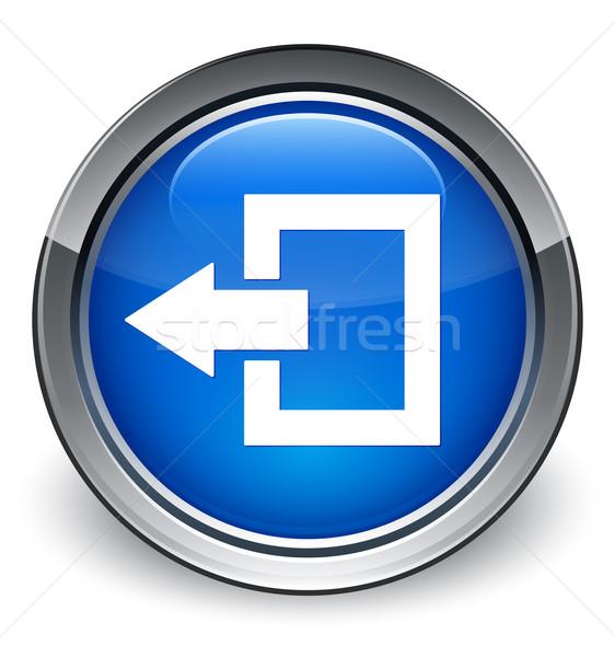 Kijelentkezés ikon fényes kék gomb internet Stock fotó © faysalfarhan