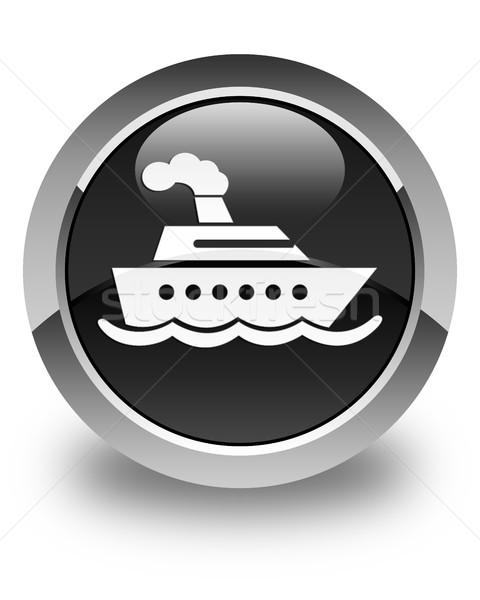 Navio de cruzeiro ícone preto botão água Foto stock © faysalfarhan