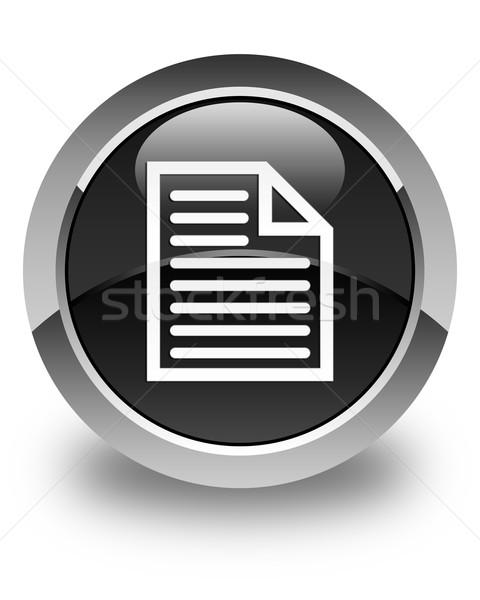 Document page icon glossy black round button Stock photo © faysalfarhan