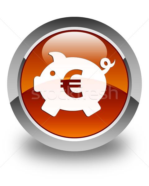 Piggy bank (euro sign) icon glossy brown round button Stock photo © faysalfarhan