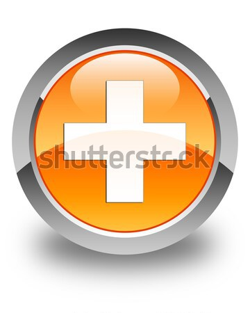 Stock photo: Plus icon glossy brown round button