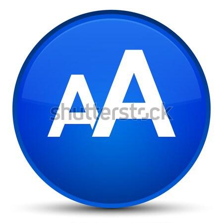 Font size icon glossy blue button Stock photo © faysalfarhan