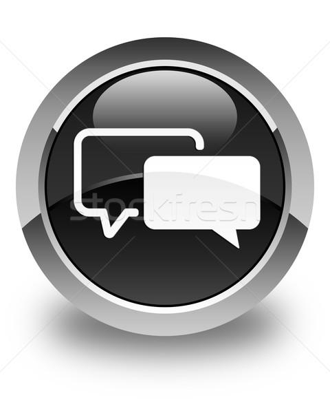 Testimonials icon glossy black round button Stock photo © faysalfarhan