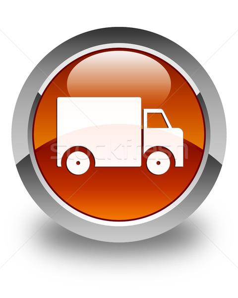 грузовик икона коричневый кнопки знак Сток-фото © faysalfarhan