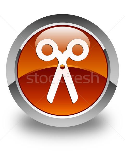 Olló ikon fényes barna gomb iroda Stock fotó © faysalfarhan