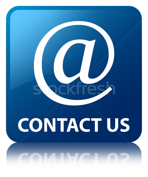 Stock photo: Contact us (Email address icon) glossy blue reflected square but