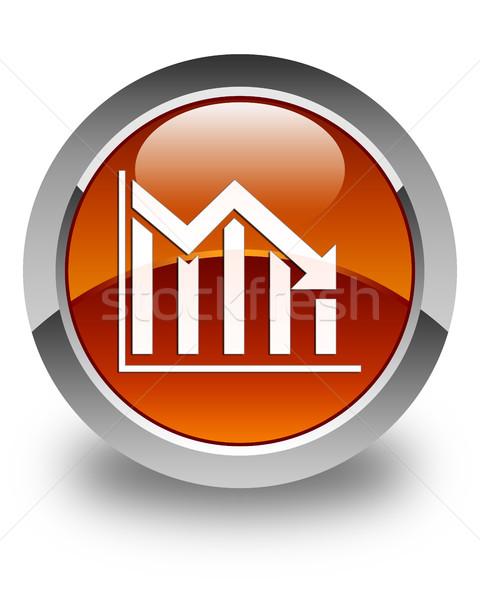 Statisztika lefelé ikon fényes barna gomb Stock fotó © faysalfarhan
