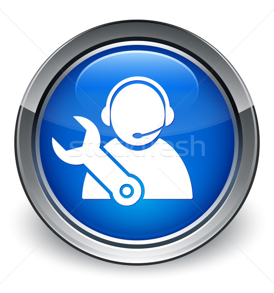 Tech support icon glossy blue button Stock photo © faysalfarhan