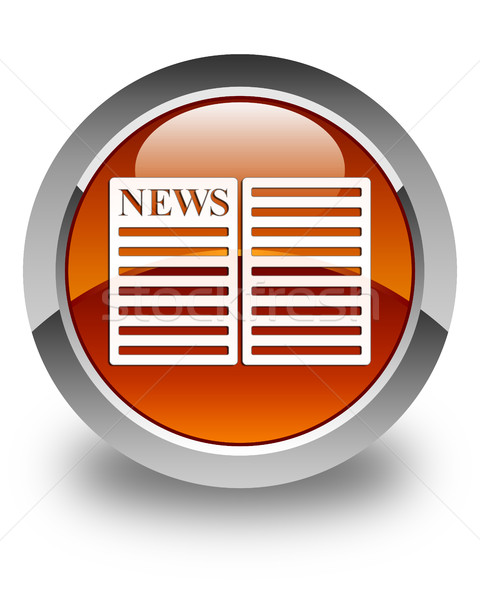 Newspaper icon glossy brown round button Stock photo © faysalfarhan