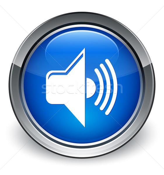 Foto stock: Volumen · icono · azul · botón · no