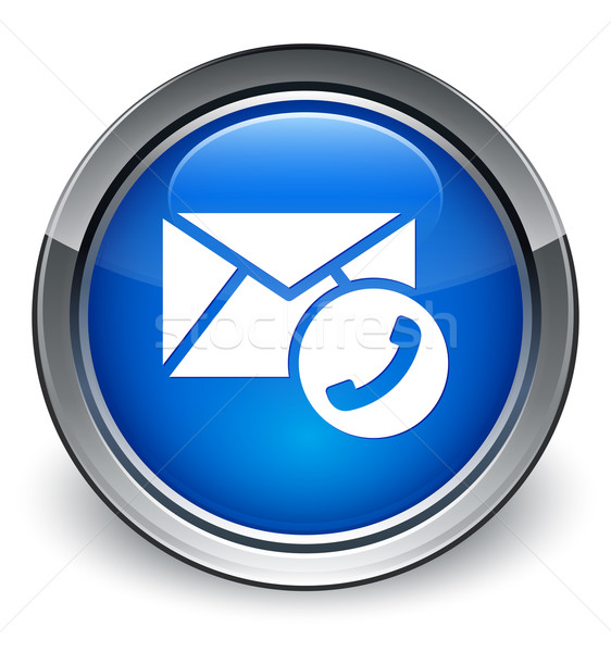 Stock photo: Contact (phone in envelope) icon glossy blue button