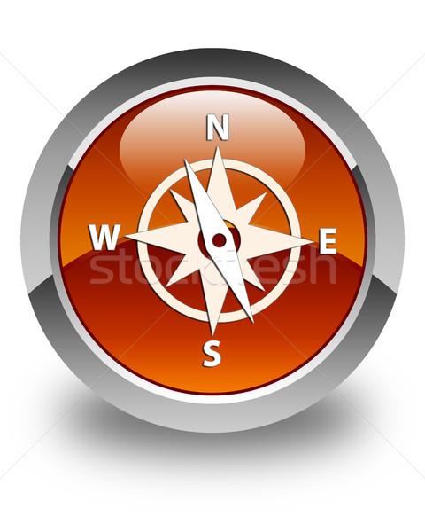 Bussola icona lucido rosolare pulsante web Foto d'archivio © faysalfarhan