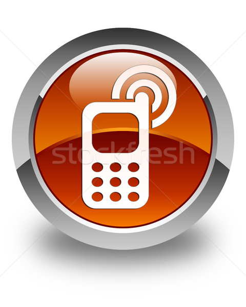 Cellphone ringing icon glossy brown round button Stock photo © faysalfarhan