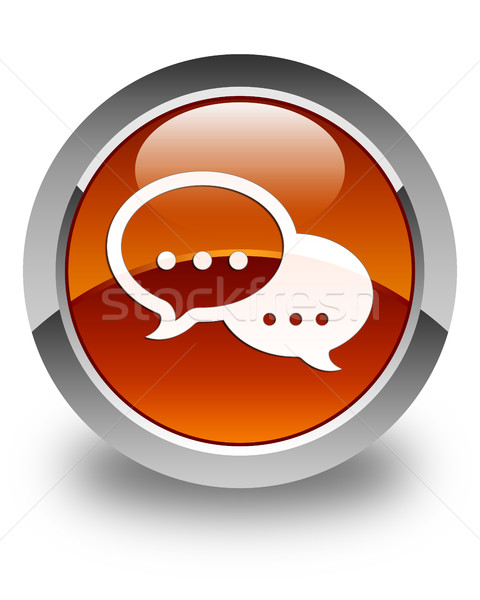 Talk bubble icon glossy brown round button Stock photo © faysalfarhan