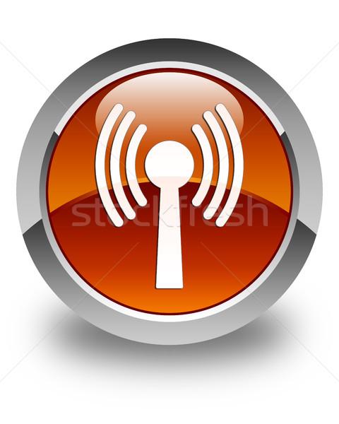 Wlan network icon glossy brown round button Stock photo © faysalfarhan