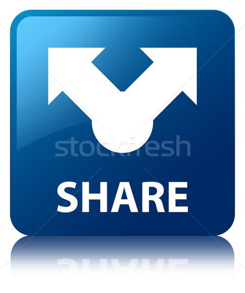 Share glossy blue reflected square button Stock photo © faysalfarhan