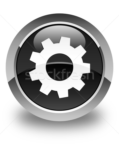 Process icon glossy black round button Stock photo © faysalfarhan
