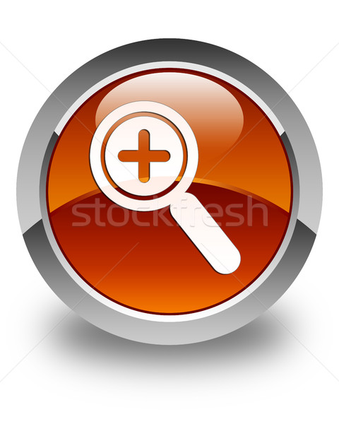 Zoom in icon glossy brown round button Stock photo © faysalfarhan