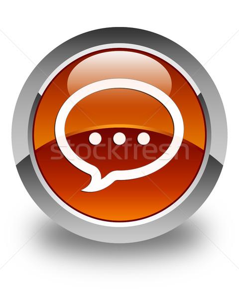 Praten icon glanzend bruin knop internet Stockfoto © faysalfarhan