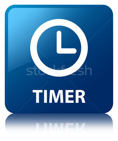 Timer clock glossy blue reflected square button Stock photo © faysalfarhan