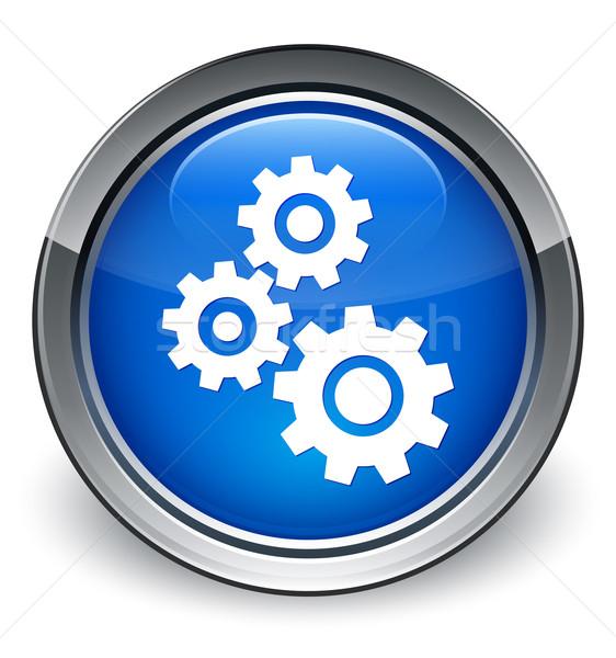 Süreç dişliler ikon parlak mavi düğme Stok fotoğraf © faysalfarhan