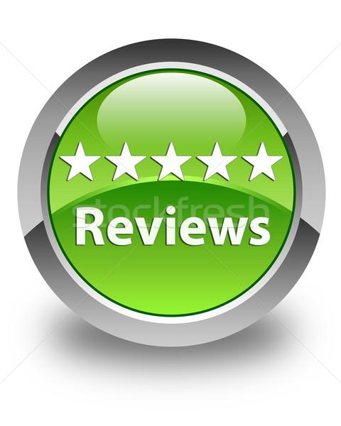 Reviews glossy green round button Stock photo © faysalfarhan
