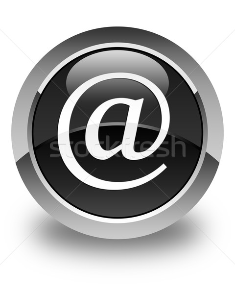 Email address icon glossy black round button Stock photo © faysalfarhan