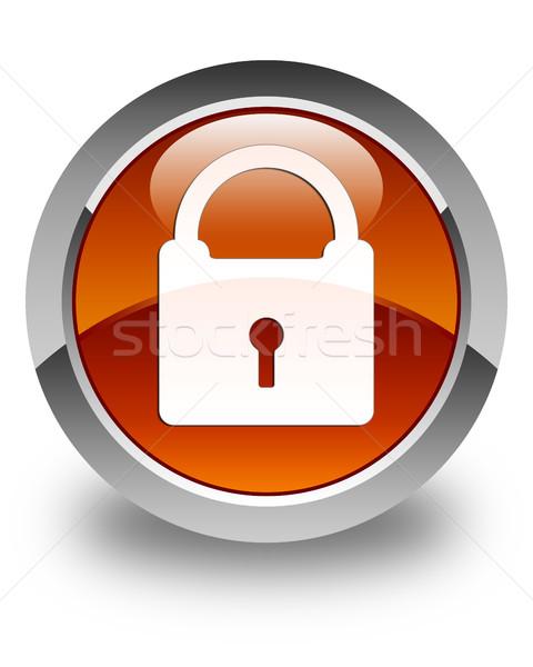 Cadenas icône brun bouton sécurité Photo stock © faysalfarhan