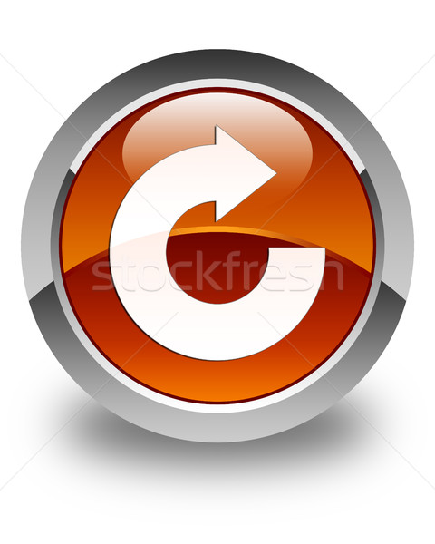 Reply arrow icon glossy brown round button Stock photo © faysalfarhan
