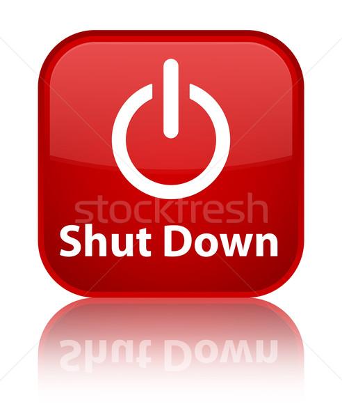 Zamknięty w dół czerwony placu przycisk Zdjęcia stock © faysalfarhan