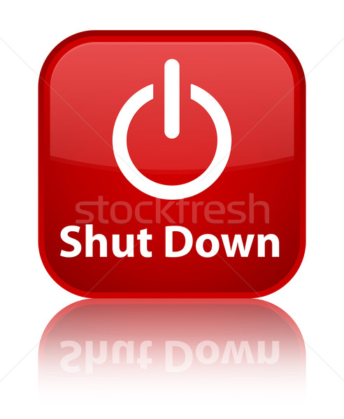 Shut down glossy red reflected square button Stock photo © faysalfarhan