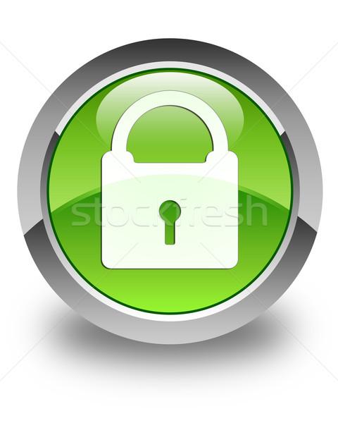 Padlock icon glossy green round button Stock photo © faysalfarhan