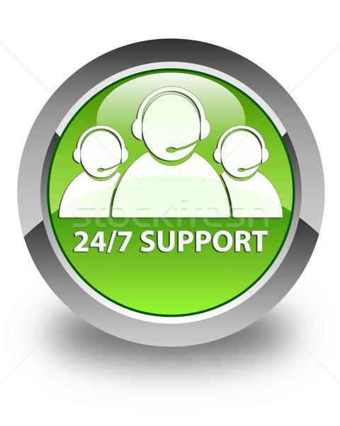 24/7 support (customer care team icon) glossy green round button Stock photo © faysalfarhan