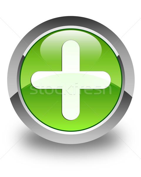 Plus icon glossy green round button Stock photo © faysalfarhan