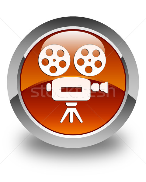 Video camera icon glossy brown round button Stock photo © faysalfarhan