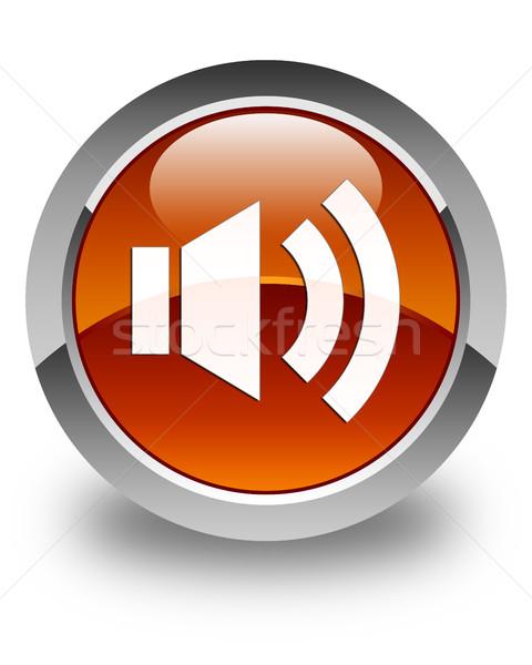 Volume icon glanzend bruin knop muziek Stockfoto © faysalfarhan