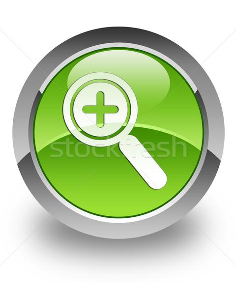 Zoom fényes ikon zöld fehér keresés Stock fotó © faysalfarhan