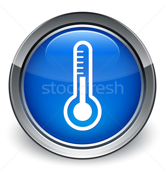 Stock fotó: Hőmérő · ikon · fényes · kék · gomb · orvosi