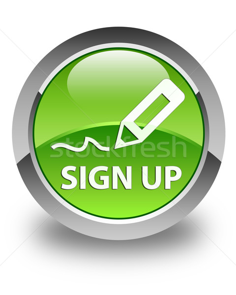 Sign up glossy green round button Stock photo © faysalfarhan