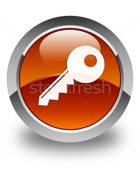 Sleutel icon glanzend bruin knop veiligheid Stockfoto © faysalfarhan