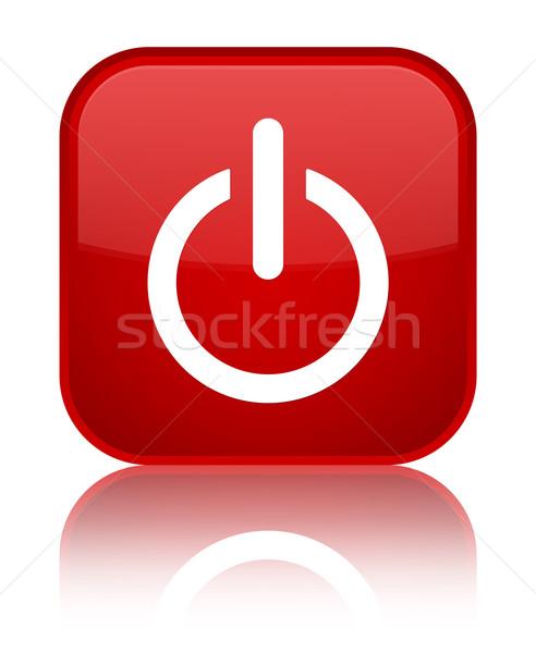 Power off (shutdown) icon glossy red reflected square button Stock photo © faysalfarhan