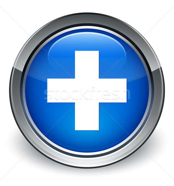 Plus icon glossy blue button Stock photo © faysalfarhan
