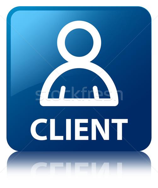 Müşteri üye ikon parlak mavi kare Stok fotoğraf © faysalfarhan
