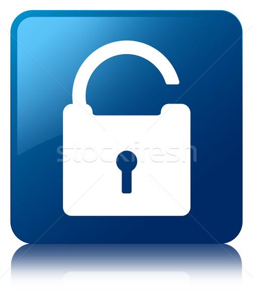 Unlock icon glossy blue reflected square button Stock photo © faysalfarhan