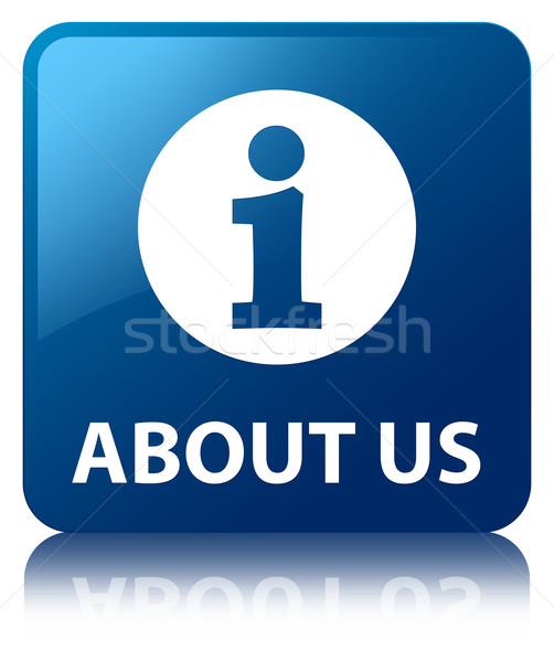 Over ons glanzend Blauw vierkante knop internet Stockfoto © faysalfarhan